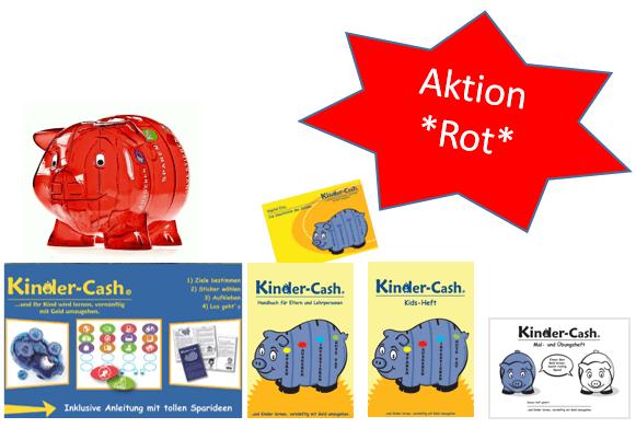 Alles in einem Set: Sparschwein, Geldkurs (Download) und passende Hefte für Eltern und Kinder