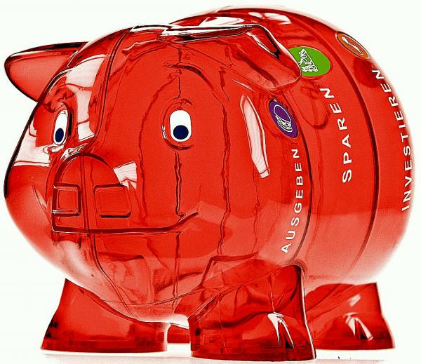 Sparschwein rot mit vier Abteilen, ca. 21x14.13 cm gross
